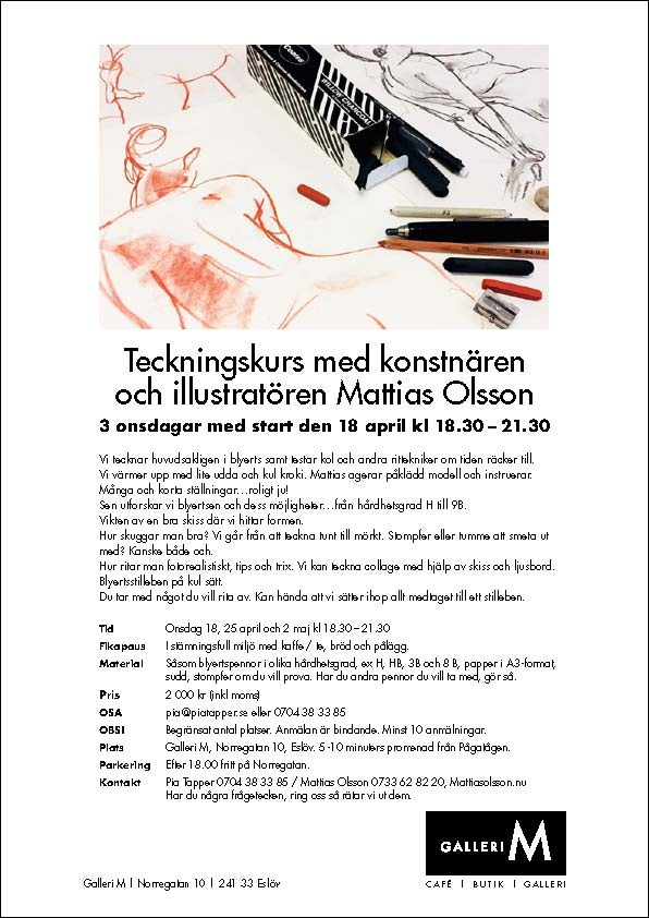 Teckningskurs 18 april